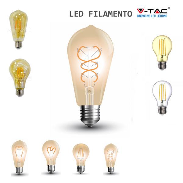 Lampade A Led A Filamento.Lampada Filamento Led Bulbo E27 Trasparente Ambrata Lampadina Lampade V Tac