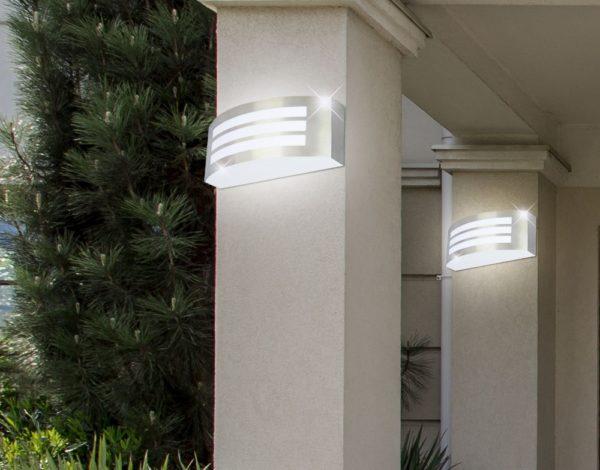 Lampada da parete per esterno in acciaio vt 7680 sku 7514