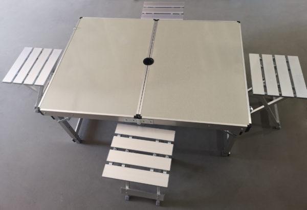 Tavolo In Alluminio Da Campeggio.Tavolo Da Picnic Alluminio Pieghevole 120x70x70cm 4 Sedie