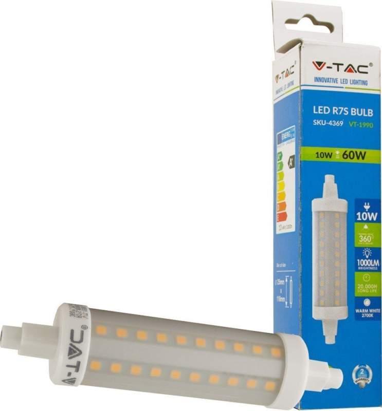 V-TAC LAMPADA LAMPADINA FARETTO LED R7S 10W 118MM LUCE CALDA-NATURALE-FREDDA SKU 4369 - 4389 - 4390