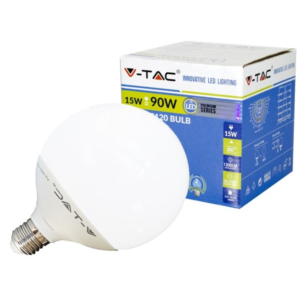 V-TAC LAMPADA LED E27 GLOBO G120 15W=90W LUCE CALDA-NATURALE-FREDDA SKU 4385-4386-4387