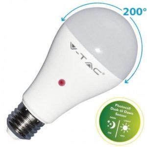 LAMPADA LAMPADINA LED V-TAC VTAC E27 BULBO A60 9W CON SENSORE CREPUSCOLARE VT-2016 LUCE CALDA-NATURALE-FREDDA SKU 4459-4460-4461