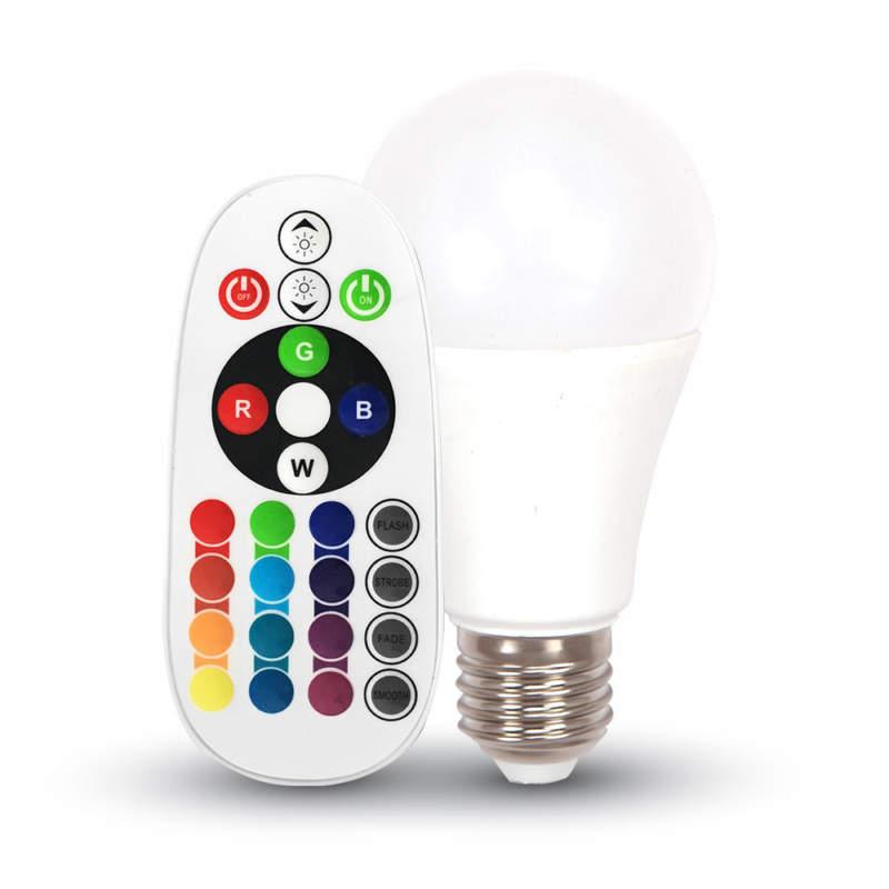 V-TAC LAMPADA LED E27 6W=40W RGB E LUCE CALDA-NATURALE-FREDDA CON TELECOMANDO SKU 7121-7150-7151