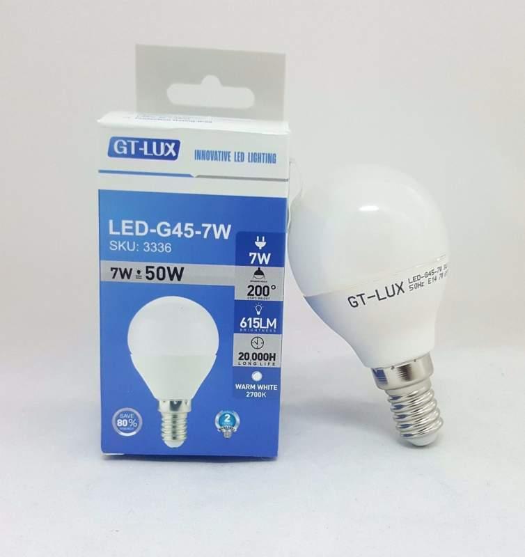 GT-LUX  LAMPADA LAMPADINA BULBO G45 LED E14 7W = 50W LED CALDA-NATURALE-FREDDA SKU 3336-3337-3338