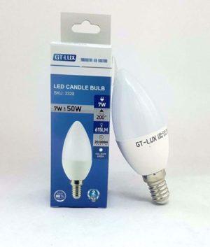 GT-LUX  LAMPADA LAMPADINA CANDELA C37 LED E14 7W = 50W LED CALDA-NATURALE-FREDDA SKU 3326-3327-3328