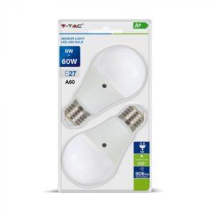 COPPIA LAMPADE LAMPADINE LED V-TAC VTAC E27 BULBO A60 9W CON SENSORE CREPUSCOLARE IN BLISTER VT-2109 LUCE NATURALE-FREDDA SKU 7286-7287