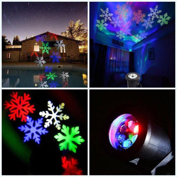 Proiettore Luci Natalizie Per Interno.Proiettore Laser Di Natale Fiocco Di Neve Per Esterno E Interno Rgb