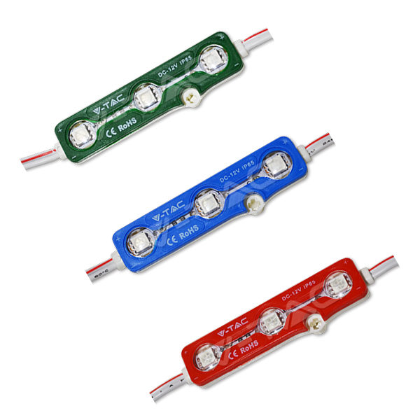 V-TAC MODULO VT-50503 3 LED 0,72W 12V MONOCOLORE IMPERMEABILE – SKU 5117 – 5118 – 5119